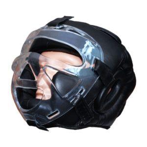 """Ochraniacz na głowę z maską """"Profi"""" (600186)- SKÓRA NATURALNA"""