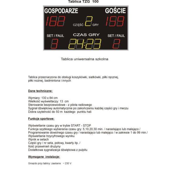 Elektroniczna tablica wyników TZG100