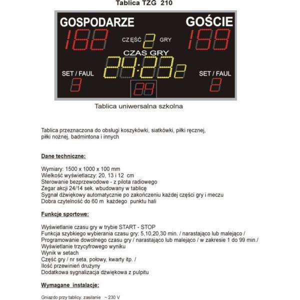 Elektroniczna tablica wyników TZG210