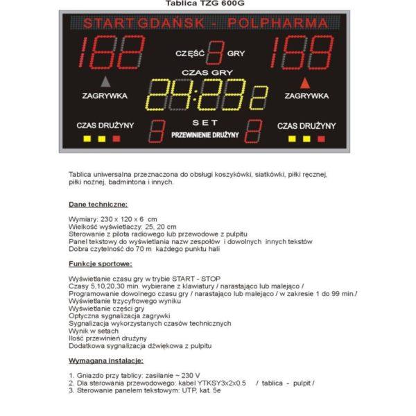 Elektroniczna tablica wyników TZG600G
