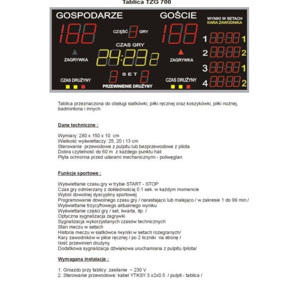Elektroniczna tablica wyników TZG700