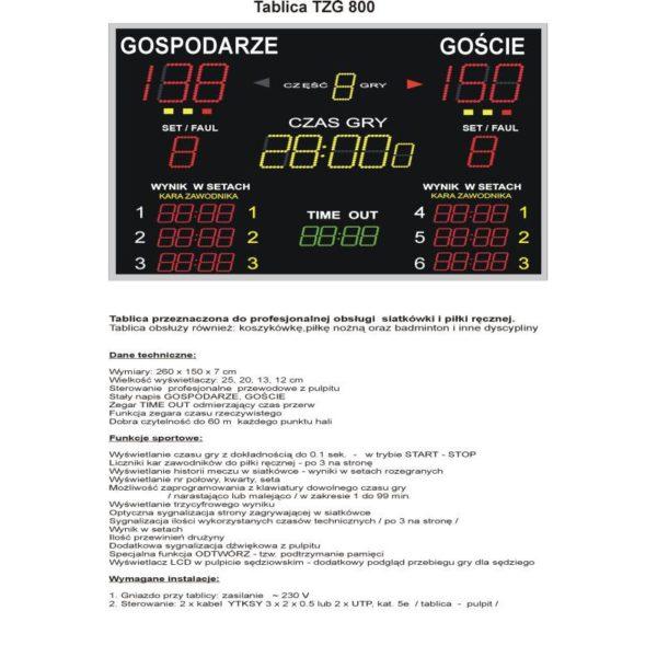 Elektroniczna tablica wyników TZG800