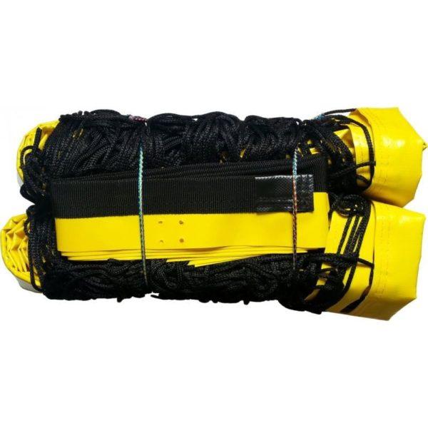 Siatka do siatkówki plażowej czarna z antenkami, profesjonalna SI-PLAŻ/PR - taśma żółta