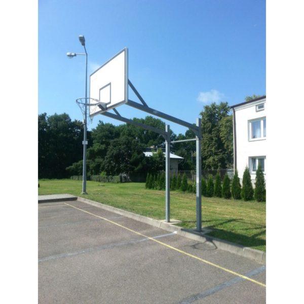 Stojak do koszykówki dwusłupowy, cynkowany, wysięgnik o dł. 2,2 m, rura kwadrat 90 mm