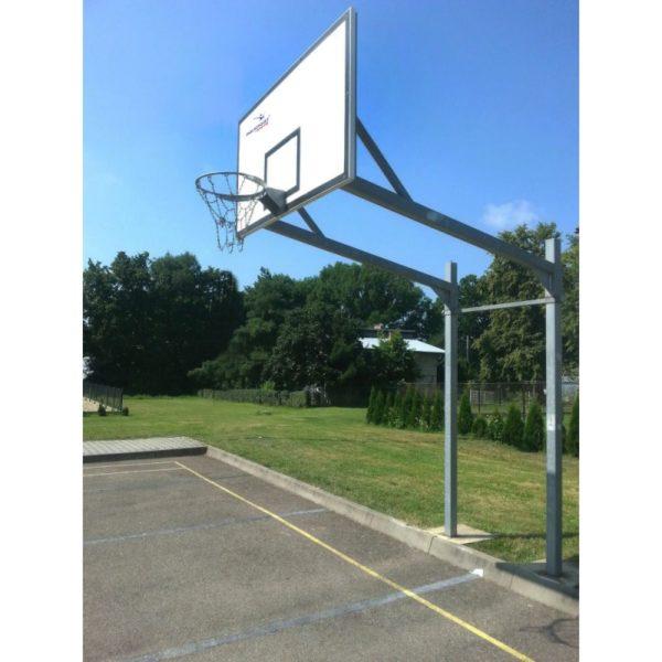 Stojak do koszykówki dwusłupowy, cynkowany, wysięgnik o dł. 1,6 m, rura kwadrat 90 mm