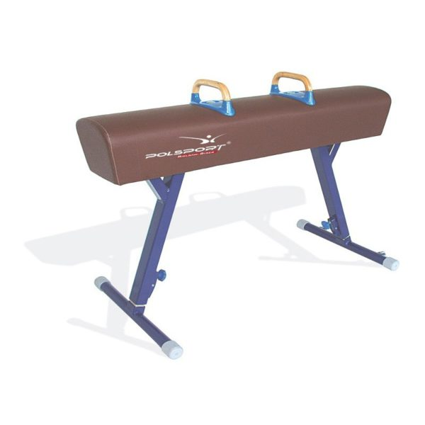 Koń gimnastyczny z łękami, pokryty sztuczną skórą, regulacja wysokości w zakresie 110-170 cm