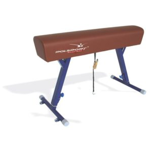 Koń gimnastyczny bez łęków, pokryty sztuczną skórą, regulacja wysokości w zakresie: 110-170 cm
