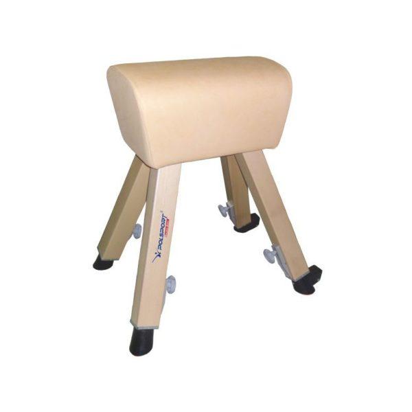 Kozioł gimnastyczny pokryty grubą skórą naturalną z nogami drewnianymi, regulacja wysokości w zakresie 90-135 cm