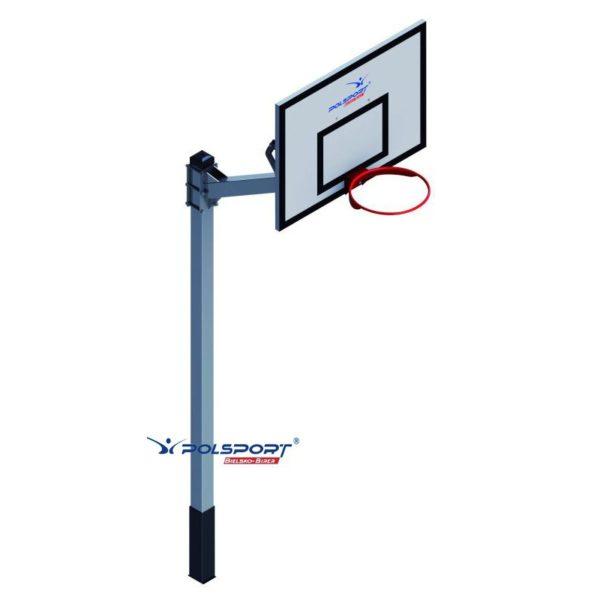 Stojak do koszykówki jednosłupowy cynkowany i malowany, wysięgnik 1,6 m, rura kwadrat 100x100x3