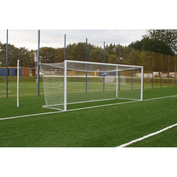 Bramka do piłki nożnej 7,32x2,44m aluminiowa z odciągami siatki do tulei