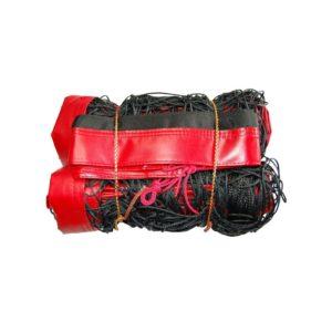 Siatka do siatkówki plażowej czarna z antenkami- taśma czerwona