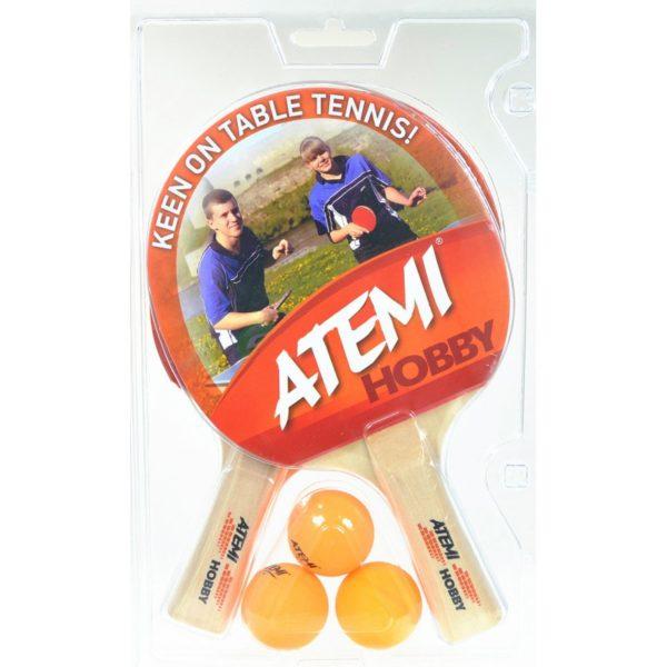 Rakietka do tenisa stołowego Atemi Hobby - zestaw ( 2szt+3 piłeczki)