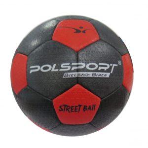 Piłka nożna na asfalt Polsport nr 5 czarno-czerwona